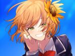 1girl :d bangs blue_sky blush close-up collared_shirt day eyes_visible_through_hair fingernails flower green_eyes grin hair_flower hair_ornament half-closed_eyes hand_up highres honma_himawari jacket long_sleeves looking_at_viewer neck_ribbon nijisanji open_mouth orange_hair outdoors purple_jacket red_neckwear red_ribbon ribbon shirt short_hair sky smile sogawa solo sunflower sunflower_hair_ornament virtual_youtuber wing_collar yellow_flower