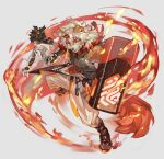 2boys absurdres animal_ears arknights bangs bare_shoulders black_shirt brown_fur detached_sleeves dog_boy dog_ears dog_tail dynamic_pose embers fighting_stance fire full_body furry highres holding holding_shield horns hung_(arknights) leg_up male_focus medium_hair multicolored_hair multiple_boys muscular muscular_male orange_eyes orange_hair pants pectorals shield shirt single_horn sleeveless sleeveless_shirt smile streaked_hair tail tapioka_chaso two-tone_fur white_fur white_hair white_pants yellow_eyes