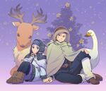 1boy 1girl ainu ainu_clothes animal asirpa bandana belt bird black_eyes black_hair black_pants blue_bandana blue_eyes blue_jacket blue_pants blush boots brown_belt brown_footwear brown_headwear buttons cape closed_mouth collared_jacket commentary_request couple deer ear_piercing earrings facial_hair full_body fur_cape gaiters golden_kamuy goose hair_strand hat hetero holding_hands hood hood_down hood_up hooded_cape hoop_earrings imperial_japanese_army jacket jewelry lips long_hair long_sleeves looking_at_another looking_at_viewer military military_uniform ogata_hyakunosuke pants piercing pouch scar scar_on_cheek scar_on_face short_hair simple_background sitting smile snow snowing star_(symbol) stubble tetsuko_gk tree uniform white_cape