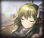 1girl 1other ahoge arknights close-up closed_eyes commentary_request cuddling doctor_(arknights) gavial_(arknights) green_hair hair_between_eyes hair_ornament hand_on_another's_shoulder hasegawamorito hood hood_up hooded_jacket jacket light_blush long_hair mask pointy_ears smile vignetting