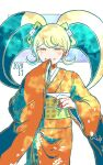 1girl bangs blonde_hair blue_background blush bow cat_hair_ornament commentary_request cowboy_shot danganronpa_(series) danganronpa_2:_goodbye_despair dated floral_print green_bow grin hair_bow hair_ornament hand_up happy_birthday japanese_clothes kimono kiri_(2htkz) long_hair long_sleeves looking_at_viewer obi print_kimono saionji_hiyoko sash smile solo twintails white_background wide_sleeves yellow_eyes