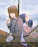 1boy 1girl ainu ainu_clothes alternate_costume asirpa back-to-back bag beige_coat belt black_belt black_eyes black_hair blue_eyes blue_gloves blue_headwear brown_headwear brown_pants cape closed_mouth coat commentary_request day ear_piercing earrings facial_hair fur_cape fur_hat gloves golden_kamuy gun hair_strand hands_together hat holding jewelry lips long_hair long_sleeves looking_away mittens ogata_hyakunosuke outdoors over_shoulder pants piercing rifle russian_clothes scar scar_on_cheek scar_on_face sitting sky snow snowing stubble tetsuko_gk tree ushanka weapon weapon_over_shoulder white_bag white_cape white_gloves