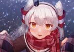 1girl amatsukaze_(kantai_collection) bangs black_dress blush breath dress eyebrows_visible_through_hair gloves hair_tubes kantai_collection long_hair long_sleeves looking_at_viewer open_mouth orange_eyes outdoors plaid plaid_scarf red_scarf sailor_collar sailor_dress scarf silver_hair single_glove snowing solo two_side_up white_gloves yoshino_ns