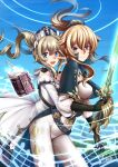 2girls :d adsouto arm_around_waist barbara_(genshin_impact) black_gloves blonde_hair blue_eyes book capelet cross cross_earrings earrings english_commentary eyebrows_visible_through_hair genshin_impact gloves highres holding holding_sword holding_weapon jean_gunnhildr jewelry knight long_hair looking_at_viewer magic multiple_girls musical_note open_mouth pants ponytail signature smile sword twintails upper_teeth weapon