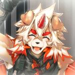 1boy ^_^ ahonobo animal_ears arknights bangs bare_shoulders black_shirt brown_fur close-up closed_eyes detached_sleeves dog_boy dog_ears dog_tail face furry horns hung_(arknights) male_focus medium_hair multicolored_hair orange_eyes orange_hair shirt single_horn sleeveless sleeveless_shirt smile streaked_hair tail toned toned_male two-tone_fur waving white_fur white_hair yellow_eyes