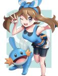 1girl ;d bare_arms bike_shorts black_shorts blue_bandana blue_shirt breasts brown_hair fanny_pack feet_out_of_frame gen_3_pokemon gonzarez grey_eyes highres leaning_forward may_(pokemon) medium_breasts mudkip one_eye_closed open_mouth poke_ball poke_ball_(basic) pokemon pokemon_(creature) pokemon_(game) pokemon_masters_ex pokemon_oras shirt shorts sleeveless sleeveless_shirt smile v white_shorts