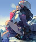 1girl bag beanie black_hair blue_eyes blush boots breath coat cold commentary dawn_(pokemon) day duffel_bag eyelashes from_side gen_4_pokemon hair_ornament hairclip hat highres kneehighs long_hair long_sleeves outdoors pokemon pokemon_(creature) pokemon_(game) pokemon_dppt pokemon_platinum riolu scarf sitting sui_(suizilla) watermark white_bag white_legwear white_scarf