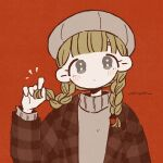 1girl :| ^^^ bangs beret blonde_hair blunt_bangs braid closed_mouth expressionless film_grain grey_eyes grey_headwear hand_up hat head_tilt highres holding holding_hair jacket keke_(kotowari) limited_palette long_hair long_sleeves looking_at_viewer low_twintails muted_color no_nose open_clothes open_jacket original plaid_jacket red_background signature simple_background solo tareme turtleneck twin_braids twintails upper_body