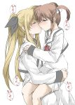 2girls blonde_hair blush brown_hair closed_eyes couple elf_(stroll_in_the_woods) fate_testarossa highres kiss legs long_hair lyrical_nanoha mahou_shoujo_lyrical_nanoha mahou_shoujo_lyrical_nanoha_a's medium_hair multiple_girls school_uniform short_twintails simple_background sitting sitting_on_lap sitting_on_person takamachi_nanoha thighs translation_request twintails uniform white_background yuri