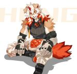 1boy ahonobo animal_ears arknights bangs bare_shoulders black_shirt brown_fur detached_sleeves dog_boy dog_ears dog_tail foot_out_of_frame furry horns hung_(arknights) looking_at_viewer male_focus medium_hair multicolored_hair muscular muscular_male orange_eyes orange_hair pectorals shirt simple_background single_horn sleeveless sleeveless_shirt smile streaked_hair tail two-tone_fur white_background white_fur white_hair yellow_eyes