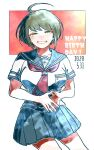 1girl ahoge bangs blue_skirt blush breasts brown_hair commentary_request contrapposto cowboy_shot danganronpa_(series) danganronpa_another_episode:_ultra_despair_girls dated fingers_together green_eyes grin half-closed_eyes happy_birthday kiri_(2htkz) large_breasts looking_at_viewer naegi_komaru neckerchief own_hands_together pleated_skirt red_neckwear school_uniform serafuku shiny shiny_hair shirt short_hair short_sleeves skirt smile solo white_background white_shirt