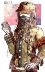 1boy bandaged_arm bandaged_hands bandaged_leg bandages bangs black_hair black_headwear black_mask brown_eyes brown_jacket brown_pants chain cowboy_shot danganronpa_(series) danganronpa_v3:_killing_harmony dated gakuran hair_ornament hand_on_hip hand_up happy_birthday hat jacket jewelry kiri_(2htkz) long_hair long_sleeves looking_at_viewer male_focus mask mouth_mask necklace pants peaked_cap school_uniform shinguuji_korekiyo solo standing