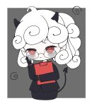 1girl adjusting_eyewear ahoge bags_under_eyes black_gloves black_horns black_jacket black_tail blazer chibi clipboard demon_girl demon_horns expressionless glasses gloves helltaker highres horns jacket looking_at_viewer office_lady pandemonica_(helltaker) red_eyes red_shirt shirt sleepy un_(artist) white_hair