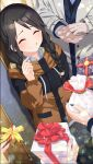 1girl ^_^ bangs black_hair blue_nails blush box braid brown_jacket closed_eyes collared_shirt commentary_request drawstring eyebrows_visible_through_hair gift gift_bag gift_box grey_shirt grin hair_over_shoulder holding holding_gift idolmaster idolmaster_shiny_colors jacket long_hair long_sleeves low_twintails mitsumine_yuika nail_polish o_(rakkasei) parted_bangs polka_dot shirt smile solo_focus sparkle standing twin_braids twintails