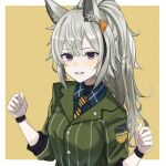 1girl a_iri_a animal_ear_fluff animal_ears arknights blue_shirt breasts collared_shirt grani_(arknights) green_shirt highres horse_ears horse_girl looking_at_viewer medium_breasts official_alternate_costume open_mouth ponytail shirt silver_hair simple_background smile solo violet_eyes yellow_background