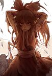 1girl absurdres adjusting_hair arms_up bandaged_arm bandages bangs bow commentary dress gohei hair_bow hakurei_reimu highres huge_filesize long_hair looking_at_viewer mouth_hold ponytail red_dress royl scratches solo torn_clothes torn_sleeves touhou upper_body white_background