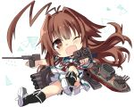 1girl ahoge black_footwear blush brown_eyes brown_hair eyebrows_visible_through_hair fang full_body highres hizuki_yayoi huge_ahoge kantai_collection kuma_(kantai_collection) long_hair machinery one_eye_closed open_mouth pleated_skirt red_ribbon remodel_(kantai_collection) ribbon rigging school_uniform serafuku short_sleeves skin_fang skirt smile solo torpedo torpedo_launcher torpedo_tubes turret white_background white_skirt