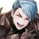 1boy ^_^ armor bangs blue_hair blush breastplate caspar_von_bergliez close-up closed_eyes danhu face fire_emblem fire_emblem:_three_houses gauntlets grin looking_at_viewer male_focus open_mouth red_armor short_hair signature simple_background smile solo upper_body v-shaped_eyebrows white_background