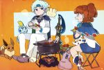 1boy 1girl :d ankle_boots arle_nadja armor blue_footwear blue_hair blue_skirt boots brown_hair campfire cape closed_mouth ditto eating eevee folding_stool gen_1_pokemon gen_6_pokemon gen_8_pokemon headband holding holding_plate honedge kuroi_moyamoya ladle long_sleeves looking_at_another madou_monogatari milcery miniskirt open_mouth pants parted_lips plate pointy_footwear pokemon pokemon_(creature) ponytail pot puyopuyo schezo_wegey scorbunny shoulder_armor sitting skirt smile sobble spaulders steam sweatdrop white_pants