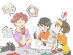 ! 1girl 2boys :d apple backwards_hat bangs baseball_cap black_headwear blush brown_gloves brown_hair bulbasaur camera chin_stroking closed_eyes commentary_request dratini dugtrio eyebrows_visible_through_hair female_protagonist_(new_pokemon_snap) fingerless_gloves food fruit gen_1_pokemon gloves hat holding legendary_pokemon magnemite male_protagonist_(new_pokemon_snap) mew moltres multiple_boys mythical_pokemon nagi_(exsit00) new_pokemon_snap open_mouth photo_(object) pikachu pointing pokemon pokemon_snap purple_shirt shirt short_hair short_sleeves smile spoken_exclamation_mark striped striped_shirt t-shirt teeth todd_snap tongue visor_cap white_background yellow_eyes