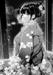 1girl 2021 bangs black_hair building closed_mouth fireworks floral_print highres japanese_clothes kimono looking_at_viewer looking_back naoko-san naoko_(9113419) new_year night night_sky original reflection sky tied_hair window