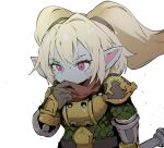1girl armor blonde_hair breastplate brown_gloves character_request colored_skin ddari gloves grey_skin highres holding league_of_legends long_hair pink_eyes pointy_ears red_scarf scarf shoulder_armor simple_background solo spaulders twintails white_background