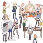 6+girls abyssal_ship ahoge beige_cardigan black_footwear black_jacket black_legwear black_sailor_collar black_skirt blonde_hair blue_hair blue_skirt boots brown_hair brown_jacket brown_legwear c2-chan c2_kikan cardigan commentary_request crab crab_on_head de_ruyter_(kantai_collection) flamethrower full_body gangut_(kantai_collection) green_legwear green_skirt green_vest grey_hair grill hibiki_(kantai_collection) highres houston_(kantai_collection) jacket kantai_collection lifting littorio_(kantai_collection) long_hair low_twintails multiple_girls necktie oboro_(kantai_collection) pantyhose pencil_skirt perth_(kantai_collection) phone plate pleated_skirt red_skirt sailor_collar school_uniform self_shot serafuku silver_hair simple_background skirt south_dakota_(kantai_collection) standing table tashkent_(kantai_collection) thigh-highs translation_request twintails v verniy_(kantai_collection) vest washington_(kantai_collection) weapon white_background white_sailor_collar yamashichi_(mtseven)