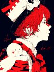 1boy 3kuma bandaid bandaid_on_nose black_background coat commentary fangs from_side fukase half-closed_eyes hat highres male_focus o3o on_shoulder paw_print point_(vocaloid) profile red_eyes red_neckwear redhead signature upper_body vocaloid whiskers white_coat