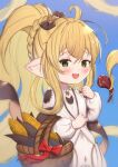 1girl :d ahoge bangs basket blonde_hair blue_background blush bow braid brown_bow commentary_request corn dress eyebrows_visible_through_hair granblue_fantasy green_eyes hair_between_eyes hair_bow hair_intakes hand_up harvin high_ponytail highres long_hair long_sleeves looking_at_viewer melissabelle open_mouth pointy_ears ponytail prehensile_hair puffy_long_sleeves puffy_sleeves sidelocks simple_background smile solo uneg very_long_hair white_dress