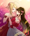 2girls :d ahoge akamatsu_kaede alternate_hairstyle arm_around_waist bagns bangs bare_shoulders blonde_hair blunt_bangs breasts brown_hair center_frills collarbone dancing danganronpa_(series) danganronpa_v3:_killing_harmony dress dress_flower flower frills gradient gradient_background hair_flower hair_ornament hairclip harukawa_maki highres holding_hands interlocked_fingers long_hair looking_at_another medium_breasts mole mole_under_eye multiple_girls musical_note_hair_ornament nanin official_alternate_costume open_mouth pink_flower pink_ribbon red_dress red_eyes red_flower red_shirt ribbon shirt short_hair smile sparkle sparkle_background yuri