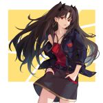 1girl belt black_ribbon casual duplicate earrings fate/grand_order fate_(series) hair_ribbon hands_in_pockets ishtar_(fate)_(all) ishtar_(fate/grand_order) jewelry long_hair looking_at_viewer open_mouth red_eyes ribbon sakanasoko skirt solo space