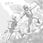 2boys ahoge alternate_costume amami_rantarou antenna_hair backpack bag branch commentary_request danganronpa_(series) danganronpa_v3:_killing_harmony grass greyscale heart highres holding_hand holding_strap looking_at_another male_focus map messy_hair monochrome mountain multiple_boys nanin open_mouth outdoors pants profile saihara_shuuichi shoes short_hair shorts translation_request tree walking