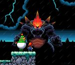 3boys bowser bowser_jr. brown_hair clouds from_behind g-bro giant glowing glowing_hair kaijuu lightning male_focus mario mario_(series) monster multiple_boys open_hands orange_hair overalls parody pixel_art rain sharp_teeth shell spikes storm style_parody super_mario_3d_world super_mario_world_2:_yoshi's_island teeth v-shaped_eyebrows white_eyes
