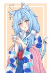 1girl absurdres ahoge animal_ear_fluff animal_ears blue_kimono blue_nails blue_skirt blush bow cat_ears cat_tail commentary cowboy_shot cup earrings eyebrows_visible_through_hair floral_print furisode fuusuke_(fusuke208) hair_between_eyes hair_ornament hairclip hakama heart_ahoge highres holding holding_cup hololive japanese_clothes jewelry kemonomimi_mode kimono light_blue_hair looking_at_viewer medium_hair multicolored multicolored_clothes multicolored_kimono nail_polish obi open_mouth pink_background pink_kimono pleated_skirt pointy_ears red_bow sash simple_background skirt smile solo tail teacup twintails twitter_username virtual_youtuber white_kimono wide_sleeves yellow_eyes yukihana_lamy