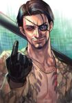 1boy baseball_bat black_gloves black_hair determined evil_smile eyebrows eyepatch facial_hair gloves goatee gold_necklace holding holding_weapon hungry_clicker index_finger_raised irezumi jacket jewelry looking_at_viewer majima_gorou male_focus manly mature muscular necklace open_clothes open_jacket print_jacket ryuu_ga_gotoku shaded_face short_hair smile smirk snake_print tattoo upper_body weapon