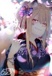 1girl absurdres animal_ear_fluff animal_ears bangle bangs black_kimono blush bracelet braid breasts chita_(ketchup) commentary_request eyebrows_visible_through_hair facial_mark floral_print fox_ears fox_girl fox_tail grin hair_between_eyes hand_up highres japanese_clothes jewelry kimono light_brown_hair long_hair long_sleeves looking_at_viewer medium_breasts mole mole_on_neck nail_polish obi original ponytail print_kimono red_eyes red_nails sash sharp_teeth sidelocks signature smile solo tail teeth upper_body wide_sleeves