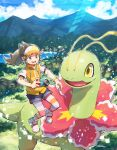 1girl :d bangs blue_sky blush brown_eyes brown_hair camera clouds commentary_request day eyelashes female_protagonist_(new_pokemon_snap) floating_hair full_body gen_2_pokemon highres holding holding_camera long_hair lower_teeth makoto_ikemu meganium mountain new_pokemon_snap open_mouth outdoors pokemon pokemon_(creature) shirt shoes short_shorts short_sleeves shorts sidelocks signature sky smile striped striped_legwear teeth tongue vest visor_cap white_footwear white_shirt wristband yellow_vest