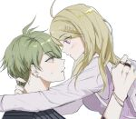 1boy 1girl ahoge akamatsu_kaede amami_rantarou arms_around_neck backpack bag bangs blonde_hair blush breasts danganronpa_(series) danganronpa_v3:_killing_harmony ear_piercing earrings eye_contact from_side gatobau green_eyes green_hair grey_background hair_ornament hairclip hand_up hands_up hetero highres jewelry long_hair long_sleeves looking_at_another medium_breasts musical_note_hair_ornament parted_lips piercing pink_eyes pink_sweater_vest profile randoseru ring shiny shiny_hair shirt short_hair simple_background smile striped striped_shirt sweatdrop sweater_vest white_shirt
