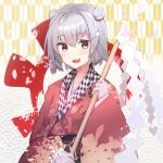 1girl cevio cherry_blossoms double_bun fang floral_print gohei grey_hair hair_bun hair_ornament hairclip holding holding_wand japanese_clothes kimono koharu_rikka looking_at_viewer obi open_mouth ozama3best petals red_kimono sash seigaiha shide short_hair smile solo upper_body violet_eyes wand yagasuri