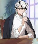 1boy alternate_costume alternate_hairstyle ashiya_douman_(fate) bangs black_hair coffee earrings fate/grand_order fate_(series) fingernails glasses green_eyeshadow highres jacket jacket_on_shoulders jewelry looking_afar magatama magatama_earrings male_focus multicolored_hair sharp_fingernails short_hair sitting table turtleneck two-tone_hair upper_body white_hair