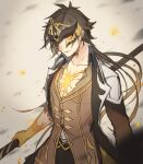 1boy bangs black_hair brown_hair collarbone crack cracked_skin earrings floating_rock formal genshin_impact hair_between_eyes highres jacket jewelry long_hair long_sleeves looking_at_viewer male_focus mask masked multicolored_hair one_eye_covered open_clothes open_mouth polearm ponytail ryu_kisaragi simple_background single_earring solo spear suit tassel tassel_earrings weapon yellow_eyes zhongli_(genshin_impact)