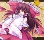 1girl bangs blush bow brown_eyes brown_hair checkered checkered_background detached_sleeves floral_print hair_bow hair_tubes hakurei_reimu hands_up heart heart_print kanna543 large_bow long_hair long_sleeves red_bow red_ribbon red_skirt ribbon ribbon-trimmed_sleeves ribbon_trim skirt sleeve_hold solo sparkle touhou upper_body wide_sleeves yellow_background
