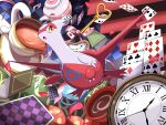 :o absurdres book bow bow_removed card claws clock commentary_request cup gen_3_pokemon highres key latias legendary_pokemon no_humans open_mouth playing_card pokemon pokemon_(creature) shabana_may solo teacup teapot tongue yellow_eyes