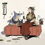 1girl animal_hood black_hair black_sash blush canyne cat cat_hood chibi closed_eyes dog felyne fingernails glowing_mouth hair_ornament hakama_pants hinoa hood long_fingernails mochi monster_hunter monster_hunter_rise official_art pants pointy_ears red_pants sash siblings solo stool twins