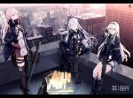 3girls ak-12 ak-12_(girls_frontline) an-94 an-94_(girls_frontline) ar-15 assault_rifle bangs black_gloves braid breasts building city cityscape closed_eyes closed_mouth commentary_request day defy_(girls_frontline) expressionless eyebrows_visible_through_hair french_braid girls_frontline gloves gun hair_between_eyes hair_ornament highres holding hologram jacket long_hair long_sleeves mask_around_neck mishima_hiroji mod3_(girls_frontline) multicolored_hair multiple_girls pink_hair red_gloves redhead ribbon rifle rooftop sidelocks silver_hair skyscraper smile st_ar-15_(girls_frontline) streaked_hair thigh-highs violet_eyes weapon