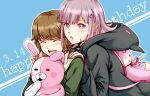 1girl :d :o animal_ears backpack bag blue_background blush brown_hair cat_bag closed_eyes commentary_request danganronpa:_trigger_happy_havoc danganronpa_(series) danganronpa_2:_goodbye_despair doll_hug fake_animal_ears fujisaki_chihiro hair_ornament hairclip happy happy_birthday hood hood_down hooded_jacket hoodie hug jacket looking_at_viewer medium_hair meipoi monomi_(danganronpa) nanami_chiaki open_mouth pink_bag pink_eyes pink_hair shirt short_hair smile stuffed_animal stuffed_bunny stuffed_toy upper_teeth