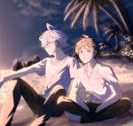 2boys ahoge bangs barefoot beach black_pants blurry breast_pocket brown_eyes brown_hair brown_pants closed_mouth collared_shirt commentary_request danganronpa_(series) danganronpa_2:_goodbye_despair day depth_of_field feet_out_of_frame hinata_hajime indian_style komaeda_nagito looking_at_viewer male_focus meipoi messy_hair multiple_boys on_ground outdoors palm_tree pants pocket print_shirt sand shiny shiny_hair shirt short_hair short_sleeves sitting smile striped striped_shirt tree white_shirt