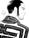 1boy ainu_clothes close-up expressionless face facial_hair from_side gentle2nd golden_kamuy greyscale looking_to_the_side male_focus monochrome patterned_clothing short_hair sideburns solo stubble tanigaki_genjirou