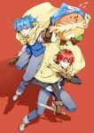 2boys akabane_karma ansatsu_kyoushitsu bangs blue_eyes blue_hair blue_headwear blue_vest boots brown_gloves commentary_request denim fighting_stance flying_sweatdrops gloves hat jeans knee_up koro-sensei_quest looking_at_viewer male_focus meipoi multiple_boys official_alternate_costume open_mouth pants red_background redhead scarf shiota_nagisa shoes short_hair simple_background smile sword vest weapon