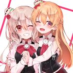 2girls artist_name ascot blonde_hair bow bowtie braid brown_eyes brown_hair corset eyebrows_visible_through_hair french_braid grin hair_between_eyes hat highres kantai_collection long_hair long_sleeves mini_hat multiple_girls one_eye_closed open_mouth pola_(kantai_collection) red_bow red_neckwear sazamiso_rx shirt signature smile violet_eyes wavy_hair white_headwear white_shirt zara_(kantai_collection)